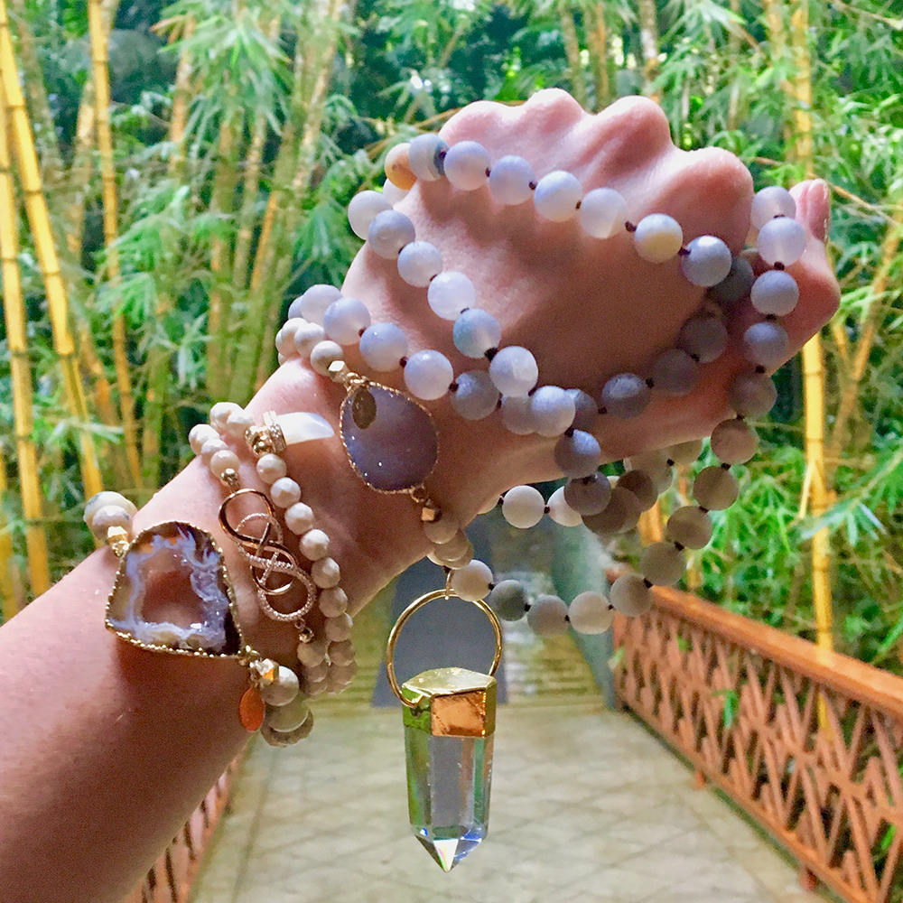 cimber himalayan salt cave crystal energy jewelry, long beaded bracelets and necklace