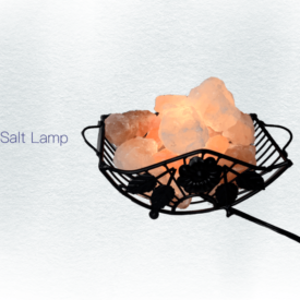 Horizontal metalwork salt lamp