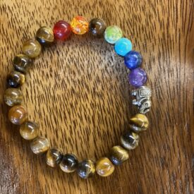 Tigers Eye Bead Bracelet w/ Chakra Beads
