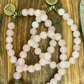 Rose Quartz Bead Bracelet w/ Charm