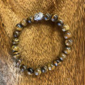 Tigers Eye Bead Bracelet w/ Charm