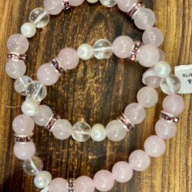 Rose Quartz Bead Bracelet w/ Pearls
