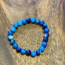 Blue Banded Agate Bead Bracelet