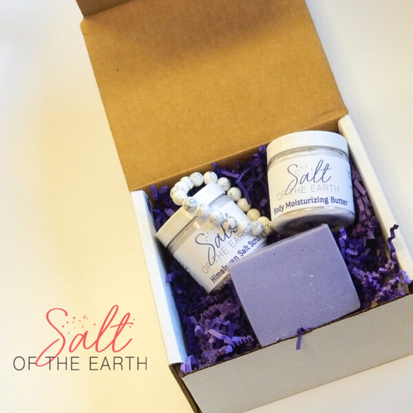 2 oz lotion, 2 oz scrub, handmade soap and howlite bracelet gift set