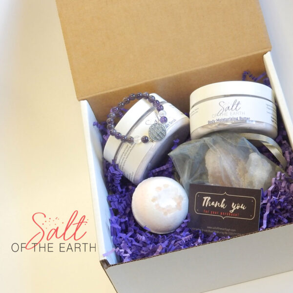 large lotion, large scrub, bath bomb, bulk salt and crystal bracelet gift box