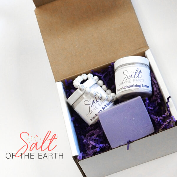 medium gift box set includes body lotion, body scrub, handmade soap and bracelet