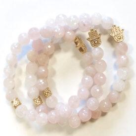 Rose Quartz Bracelet with Hamsa Charm