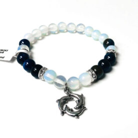 Kyanite and Opalite Bracelet with Dolphin Charm