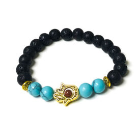 Lava Stone and Turquoise Bracelet with Gold Hamsa Charm