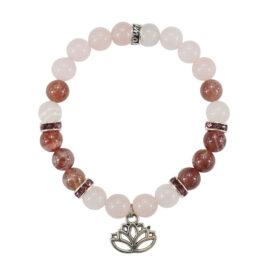 Rose Quartz and Strawberry Quartz Bracelet with Lotus Charm