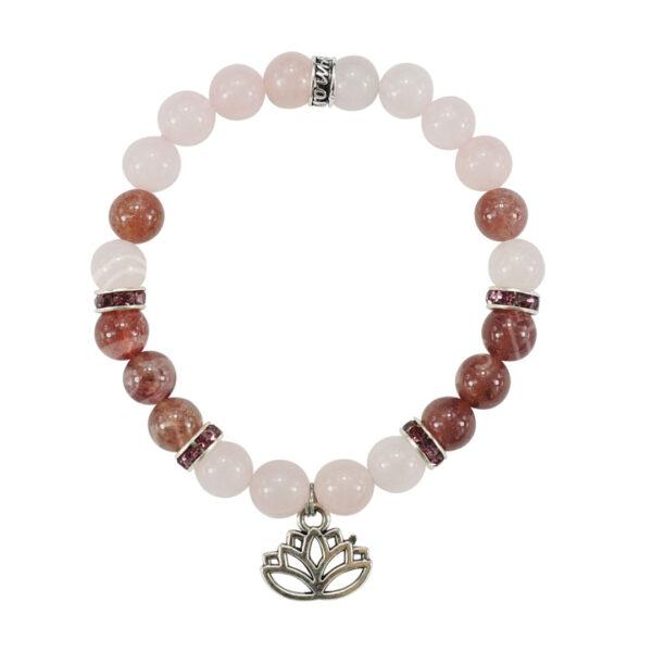 rose quartz and strawberry quartz healing bracelet