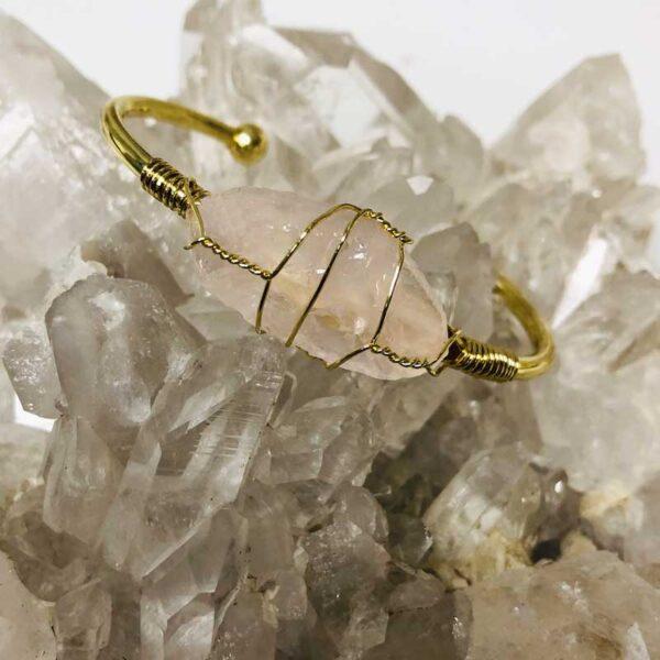 rose quartz crystal bracelet b